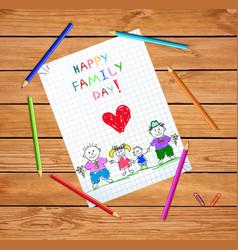 happy family day cartoon hand drawn vector image