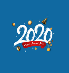 Happy new year 2020 white number with confetti vector