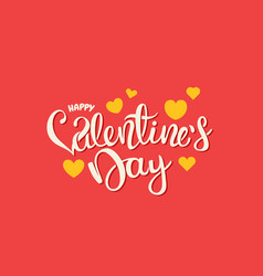happy valentines day card with calligraphic vector image