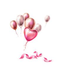 Heart balloon silk ribbon realistic set vector