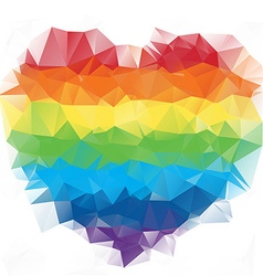 Heart polygonal colorful mosaic background vector