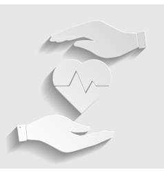 Heartbeat sign Paper style icon vector image
