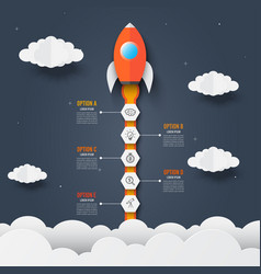 infographics template rocket through vector image