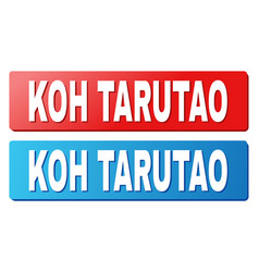 Koh tarutao title on blue and red rectangle vector