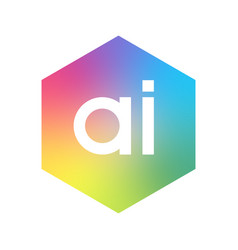 letter ai logo in hexagon shape and colorful vector image