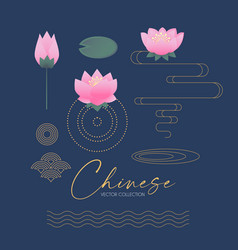lotus and asian graphic elements set chinese vector image