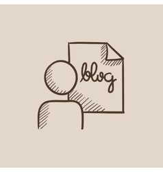 Man and sheet with word blog sketch icon vector image