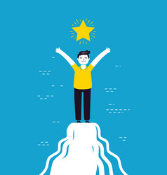 Man is standing on top mountain success vector