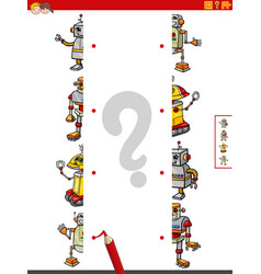 Match halves pictures with robots educational vector