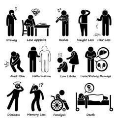 Medication drug side effects symptoms pictograph vector