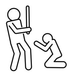 men violence bat icon outline style vector image