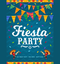 mexican fiesta party poster with chilli peppers vector image