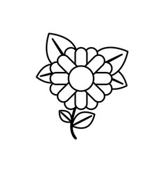 Monochrome contour abstract sunflower with stem vector