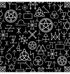 Mystical seamless pattern on black background vector