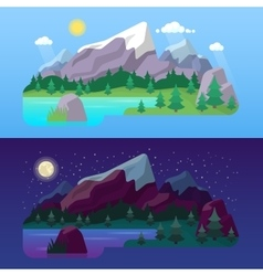 Nature Mountain Landscape Day and Night vector