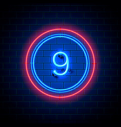 Neon city font sign number 9 vector