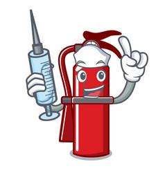Nurse fire extinguisher character cartoon vector