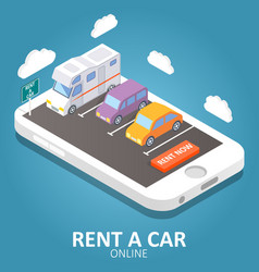 Online car rental isometric vector