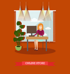 online store concept in flat vector image