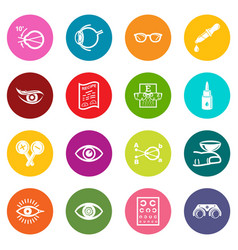 Ophthalmologist icons set colorful circles vector