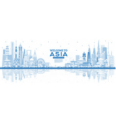 Outline welcome to asia skyline with blue vector