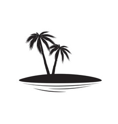 palm silhouettes two palm trees on an islet vector image