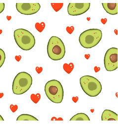 Pattern with avocado and heart vector