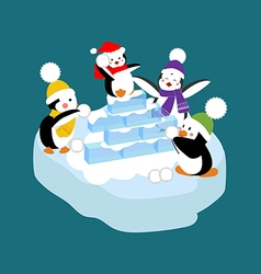 Penguins playing snowball vector image