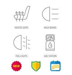 Petrol station fog lights and heated seats vector