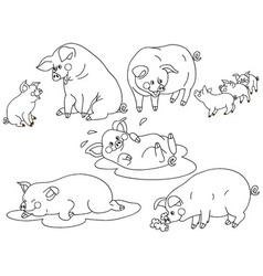 Pig Set vector image