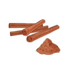 Pile cinnamon sticks and heap aromatic vector