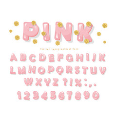 Pink glossy font abc letters and numbers vector