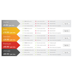 Pricing table in flat design for websites and vector