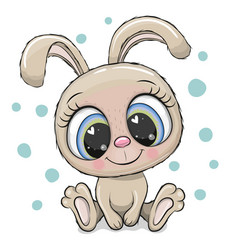 Rabbit with big eyes isolated on a white vector