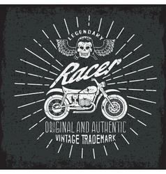 Racer grunge vintage print with motorcycle wings vector