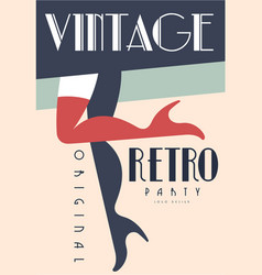 retro vintage party original logo design emblem vector image