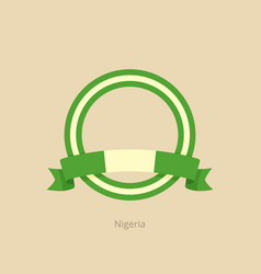 Ribbon and circle with flag of nigeria vector