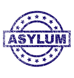 Scratched textured asylum stamp seal vector