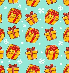 seamless christmas pattern on green background vector image