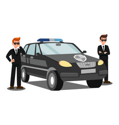 Security agents and car flat vector