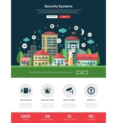 Security systems website header banner with vector