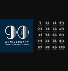 Set anniversary logotype modern anniversary vector