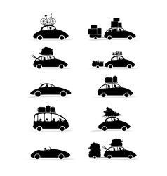 Set of different red cars with luggage for your vector image