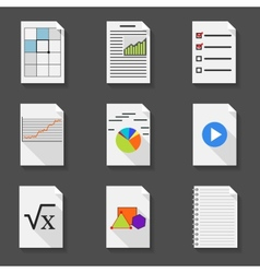 Set of icons of office documents in a flat style vector