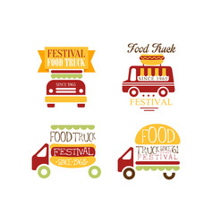 Set of logo templates for food truck festival vector