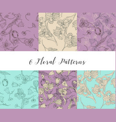 Set of seamless patterns with flowers vector