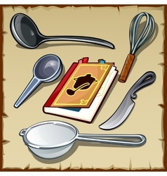 Set tableware for cooking and cookbook vector