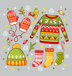 set with winter new year clothes winter vector image