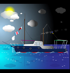 Ship floating on the sea vector
