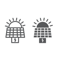 Solar panel line and glyph icon ecology and power vector